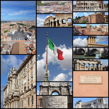 Photo collage from Rome, Italy. Collage includes major landmarks like Colosseum, Roman Forum and Vatican.