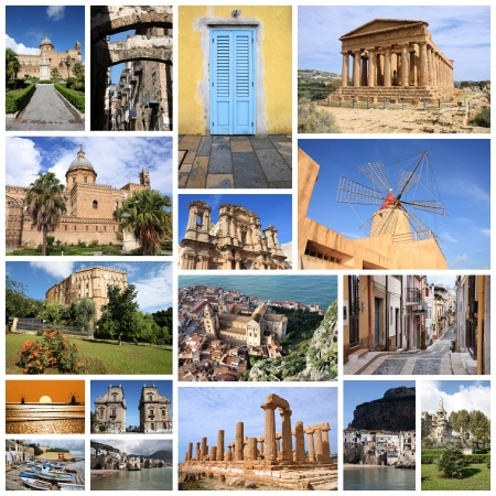 agrigento: Photo collage from Sicily island, Italy. Collage includes major landmarks like Palermo, Agrigento, Marsala and Cefalu. Stock Photo
