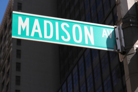 avenue: New York City, United States - famous Madison Avenue sign in Manhattan