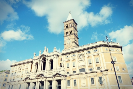 maggiore: Rome, Italy. Basilica of Santa Maria Maggiore. One of four papal basilicas. Vintage retro photo colors - cross processing style.