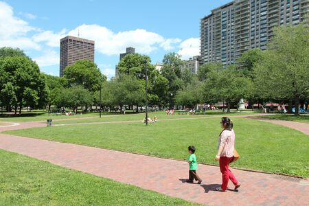 boston common: BOSTON - JUNE 9: People visit famous Boston Common on June 9, 2013 in Boston. It is the oldest city park in the United States, founded in 1634.