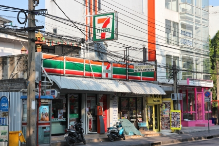 BANGKOK - DECEMBER 22: 7-Eleven store on December 22, 2013 in Bangkok. 7-Eleven is worlds largest operator, franchisor and licensor of convenience stores, with more than 46,000 shops.