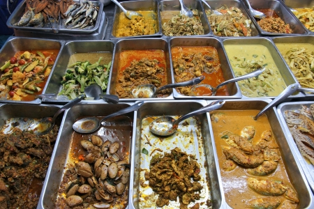 all in: Food market in Bangkok, Thailand. All you can eat buffet choice.