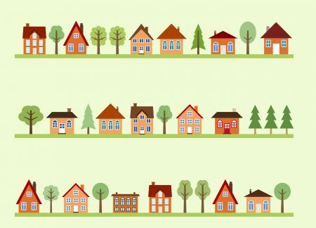 Bekijk kleine stad straat met cartoon huizen en bomen. Europese dorpsstraat.