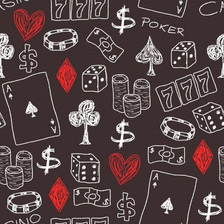Doodle seamless background texture illustration - casino concepts with poker, dice and gambling. Stock Vector - 25080459