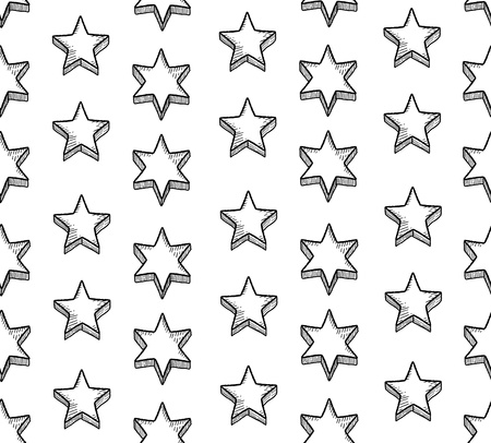 Seamless pattern with doodle star shapes. Christmas background doodle for a wrapping paper. Vector