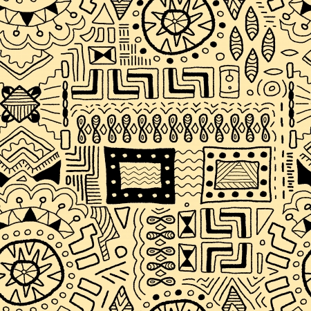 Aboriginal art background - indigenous African patterns seamless texture Vector