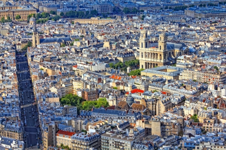 rue: Paris, France - aerial city view with Saint Sulpice church and Rue de Rennes street