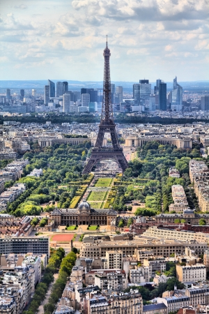 Paris, France - aerial city view Eiffel Tower. UNESCO World Heritage Site. photo