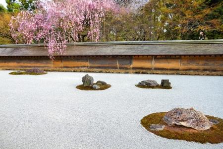 Kyoto, Japan - zen stone garden at famous Ryoanji (Ryoan-ji) Temple. Buddhist zen temple of Rinzai school.