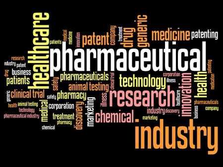 Pharmaceutical industry and medicine word cloud illustration. Word collage concept. illustration