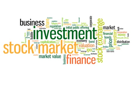 stocks: Stock market investment keywords cloud illustration. Word collage concept. Stock Photo