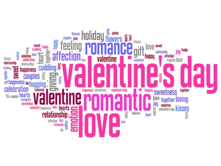 Valentines Day word cloud illustration. Word collage concept. illustration