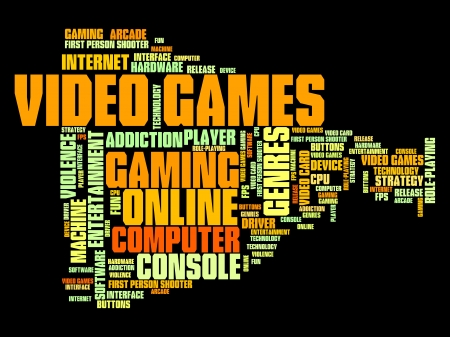 Video games concepts word cloud illustration. Word collage concept. illustration