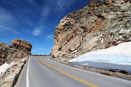Rocky Mountain National Park in Colorado, USA. Winding mountain road - Trail Ridge Road. photo