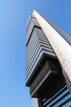 MADRID, SPAIN - OCTOBER 23, 2012: Torre Caja Madrid building in Madrid. Torre Caja Madrid is the tallest building in Spain (as of 2013), it is 250m tall.
