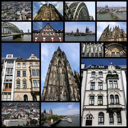 Photo collage from Cologne, Germany. Collage includes major landmarks like the cathedral and Rhine river bridge. photo