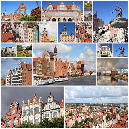 Photo collage from Gdansk, Poland. Collage includes major landmarks like the granaries and Neptune fountain. photo