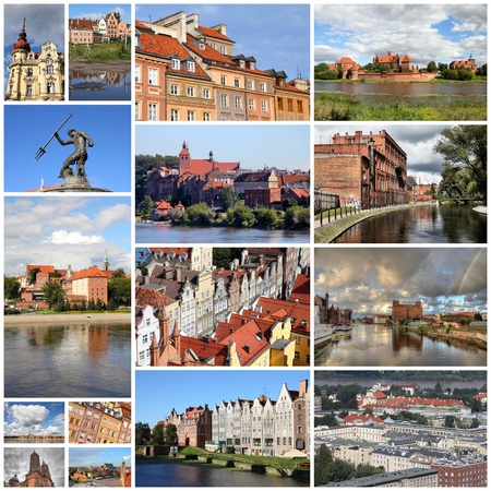 Photo collage from Poland. Collage includes major cities like Warsaw, Gdansk, Torun, Bydgoszcz, Plock and Grudziadz.