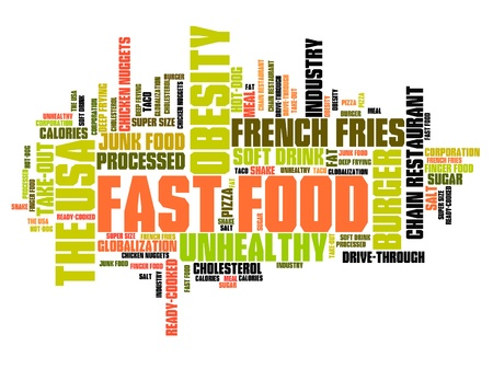 obesity: Fast food - unhealthy diet concepts word cloud illustration. Word collage concept.
