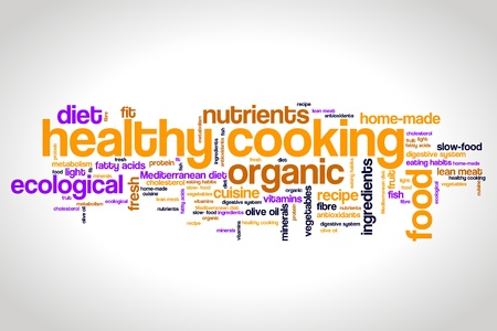 free radicals: Healthy cooking and slow food diet concepts word cloud illustration. Word collage concept. Stock Photo