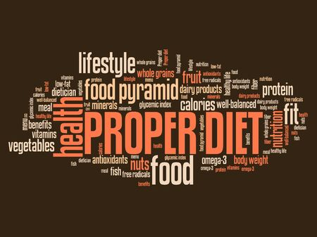 Proper diet and healthy food diet concepts word cloud illustration. Word collage concept. illustration