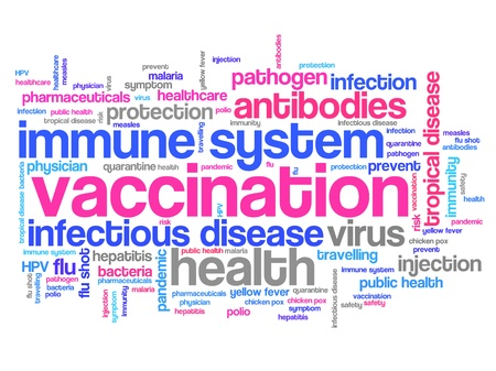 immunization: Vaccination and immunization concepts word cloud illustration. Word collage concept.