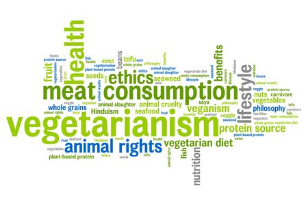 Vegetarianism concepts word cloud illustration. Word collage concept.
