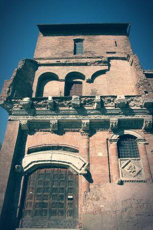 cross processed: Rome, Italy - Casa dei Crescenzi, medieval structure at Forum Boarium. Cross processed color style - retro image tone. Stock Photo