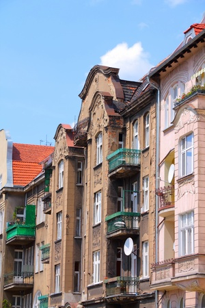 wielkopolska: Poznan, Poland - city architecture. Greater Poland province (Wielkopolska). Residential architecture in Jezyce district.