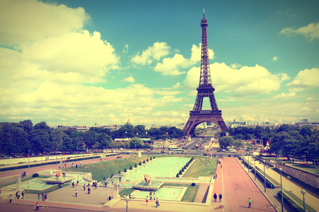 Paris, France - cityscape with Trocadero gardens and Eiffel Tower. UNESCO World Heritage Site. Cross processed style - retro color tone. photo