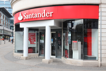 MANCHESTER, UK - APRIL 21, 2013: Exterior view of Santander Bank branch in Manchester, UK. Santander Group was ranked 43rd largest company in the world by Forbes in 2013.