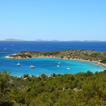 Croatia - beautiful Mediterranean coast landscape in Dalmatia. Murter island beach, Kosirina peninsula - Adriatic Sea. Kornati islands in background. Square composition. photo