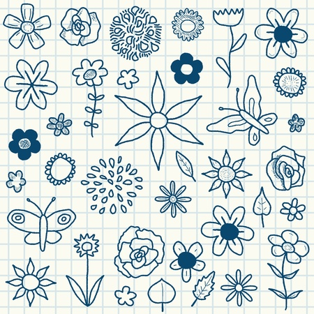 Doodle illustration collection with various flowers, leaves and butterflies. Floral scribble set. Vector