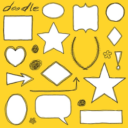 Doodle illustration collection with various frame shapes and borders. Sketchbook ornaments. Vector