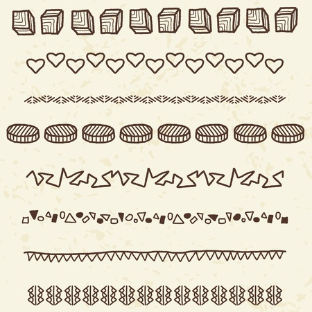 Collection of decorative borders illustration. Doodle divider or text break clipart group set. Vector
