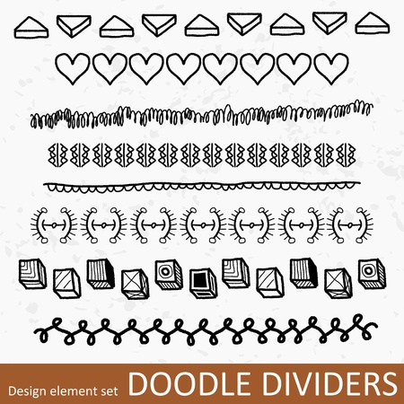 Collection of decorative borders illustration. Doodle divider or text break clipart group set.