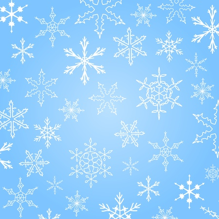 Background with snowflake winter icons. Christmas texture. Vector