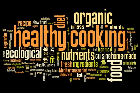 slow food: Healthy cooking and slow food diet concepts word cloud illustration. Word collage concept. Stock Photo