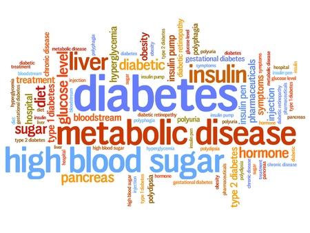 diabetes: Diabetes conceptos enfermedad ilustraci�n nube de palabras. Concepto Collage de palabra.
