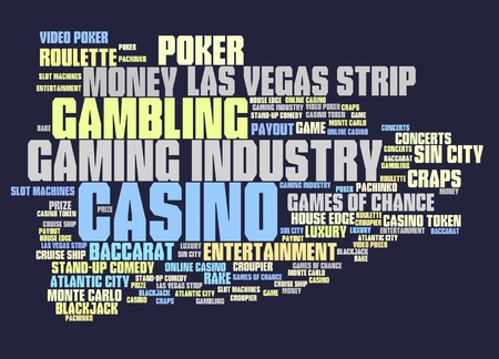 atlantic city: Casino gambling concepts word cloud illustration. Word collage concept.