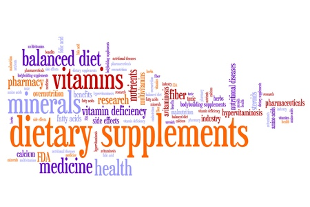 Dietary supplements concepts word cloud illustration. Word collage concept. illustration