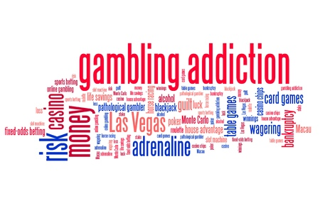 overuse: Gambling addiction concepts word cloud illustration. Word collage concept. Stock Photo