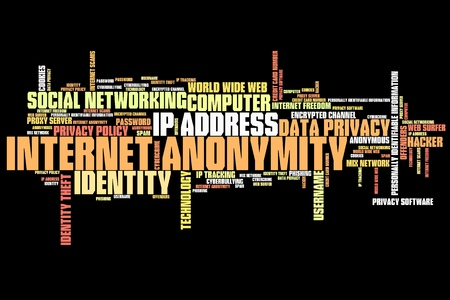 Internet anonymity issues and concepts word cloud illustration. Word collage concept. illustration