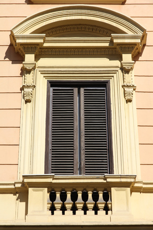 architectural feature: Rome, Italy - architectural feature in historical building, old window.