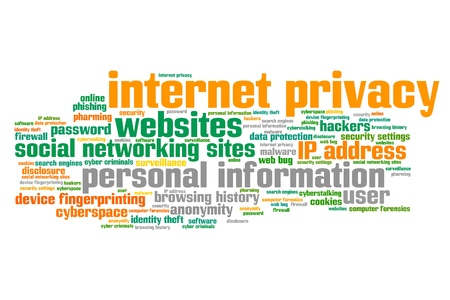 Internet privacy issues and concepts word cloud illustration. Word collage concept. illustration