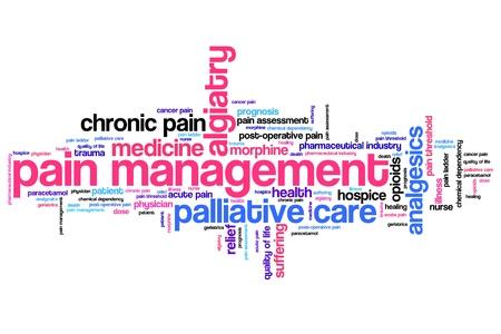 Pijnbestrijding en palliatieve zorg kwesties en concepten woordwolk illustratie. Word collage concept.