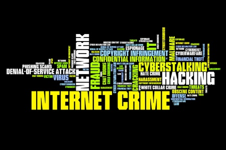 Internet crime (hacking, stalking and malware) issues and concepts word cloud illustration. Word collage concept. Stock Illustration - 26243020