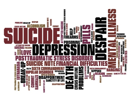 mental problems: Suicide and depression issues and concepts word cloud illustration. Word collage concept. Stock Photo