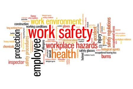 obreros trabajando: Trabajar los temas de seguridad y conceptos de nube de palabras de ilustraci�n. Concepto Collage de palabra.